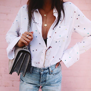 Lovely Star Print Long Sleeve Shirt-White-S-