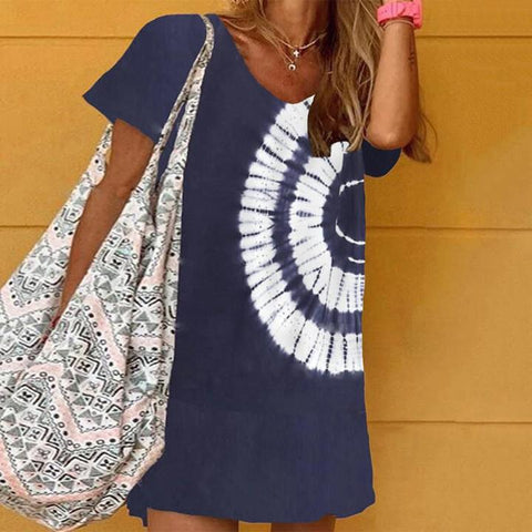 Made For You Tie Dye Dress-Navy-S-