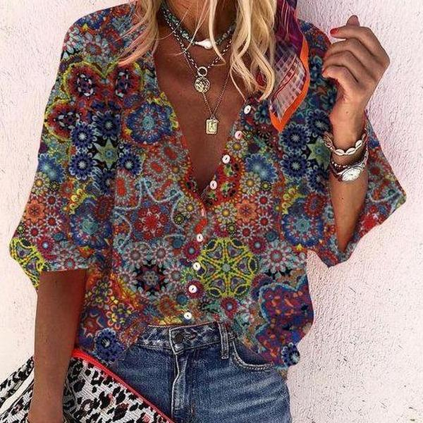 Made of Magic Printed Blouse-Red-S-
