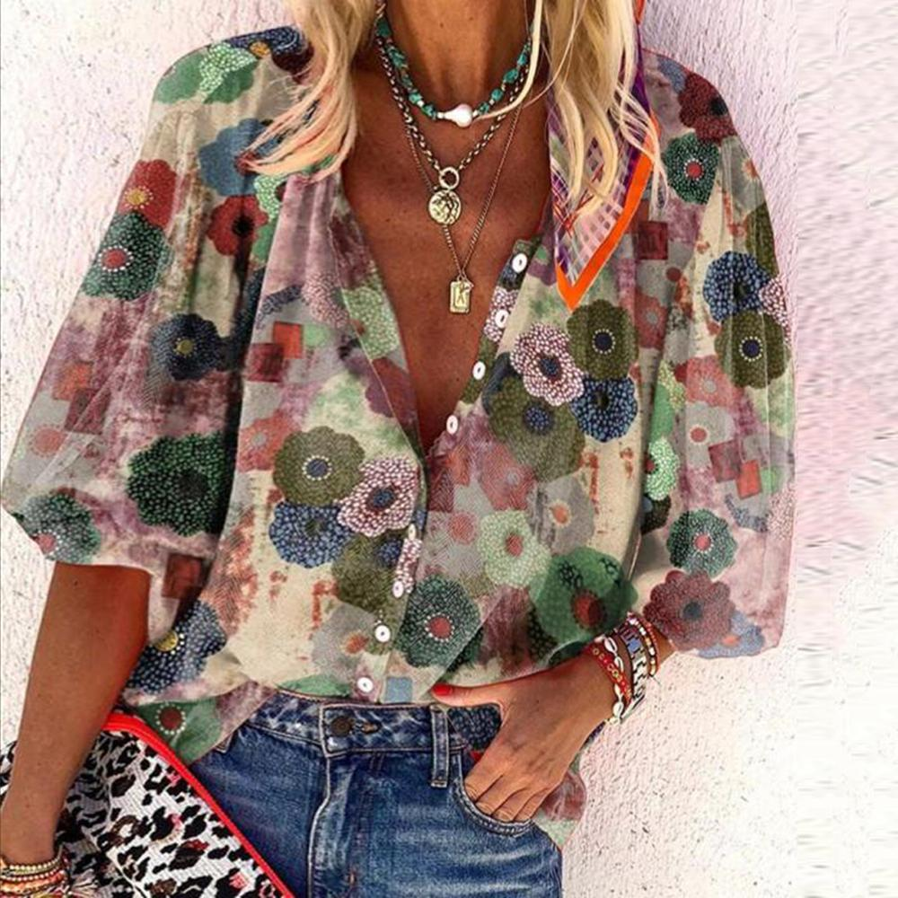 Make me a Promise Floral-print Blouse-Green-S-