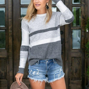 Modest Color Block Long Sleeve Sweater-Grey-S-