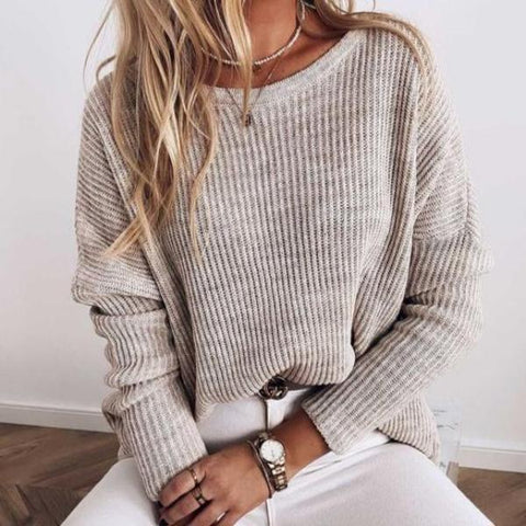 Modest Round Neck Long Sleeve Plain Sweater-Apricot-S-