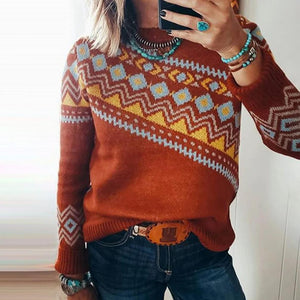 Modest Round Neck Long Sleeve Red Print Sweater-Red-S-