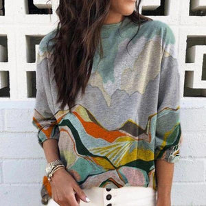 Modest Round Neck Long Sleeve Tee-Multicolor-S-