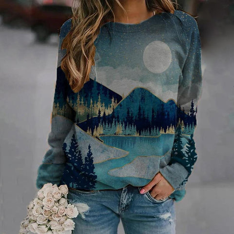 Mood-Lifting Landscape Print Long Sleeve Top-Green-S-
