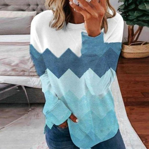 Mood-Lifting Print Round Neck Long Sleeve Sweatshirt-Blue-S-