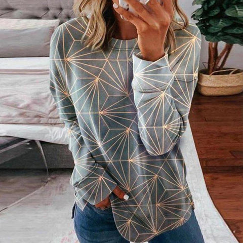Mood-Lifting Print Round Neck Long Sleeve Top-Grey-S-