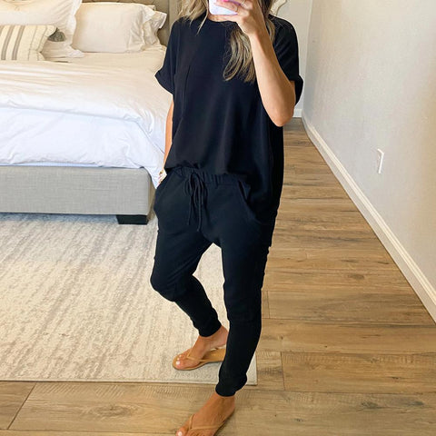 Morning Beauty Top and Joggers Set-Black-S-