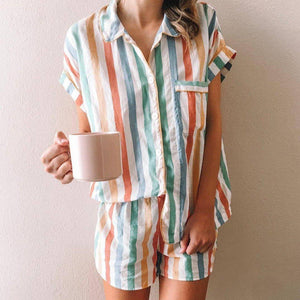 Motivational Sleeper Striped Pajama Set-Multicolor-S-