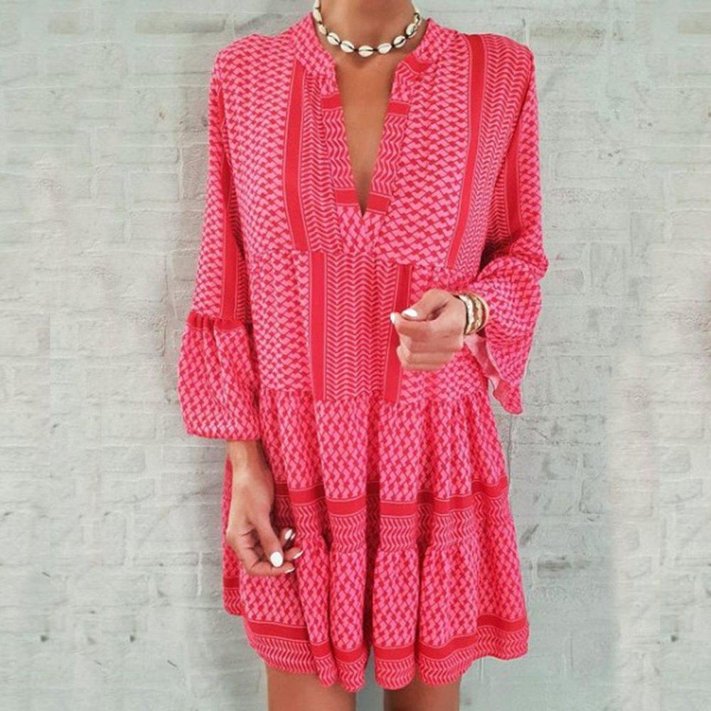 Much to Explore Geo Print Dress-DEEP PINK-S-