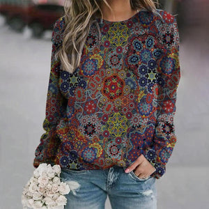 Multicolor Floral Crew Neck Long Sleeve Top-Multicolor-S-