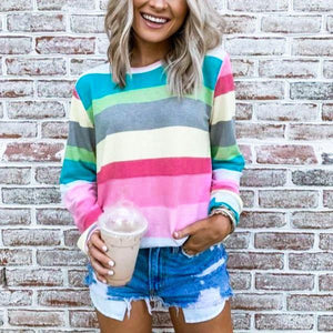 Multicolor Striped Long Sleeve Top-Multicolor-S-
