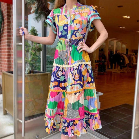 National Style Short Sleeve Maxi Dress-MULTICOLOR-S-