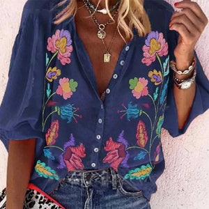 Navy Print V-Neck Button-Up Top-Navy-S-