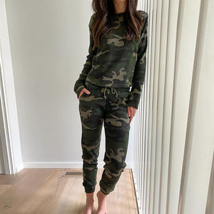 Never Far Away Camo Jogger Set-Camouflage Green-S-