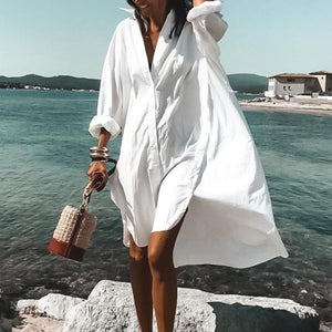 Never Letting Go White Shirtdress-White-S-