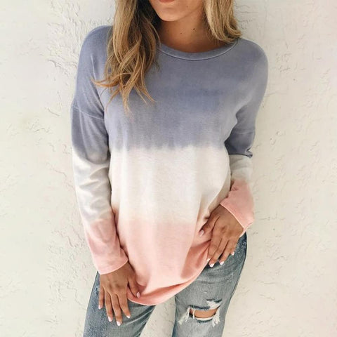 New Color Block Long Sleeve Top-Grey-S-