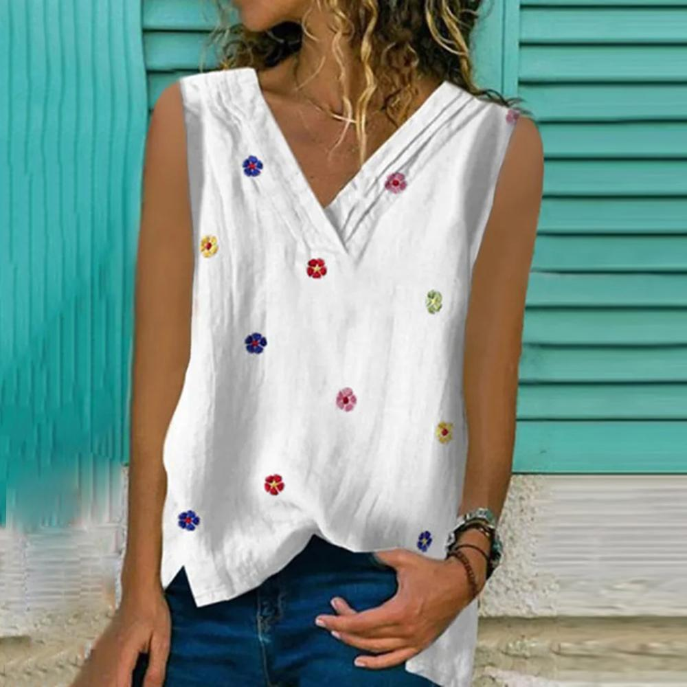 New Floral Print Sleeveless Top-White-S-