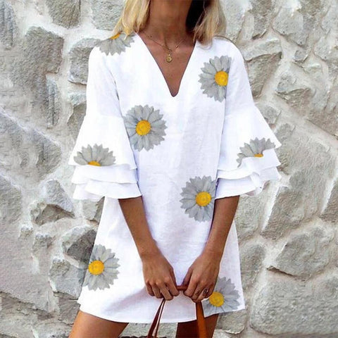 New Floral Print Tiered Sleeve Mini Dress-White-S-