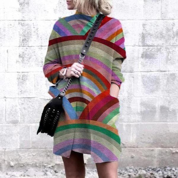 New High Neck Long Sleeve Color Block Pocket Mini Dress-Multicolor-S-