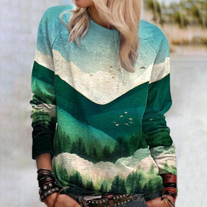 New Landscape Printed Long Sleeve Top-Green-S-
