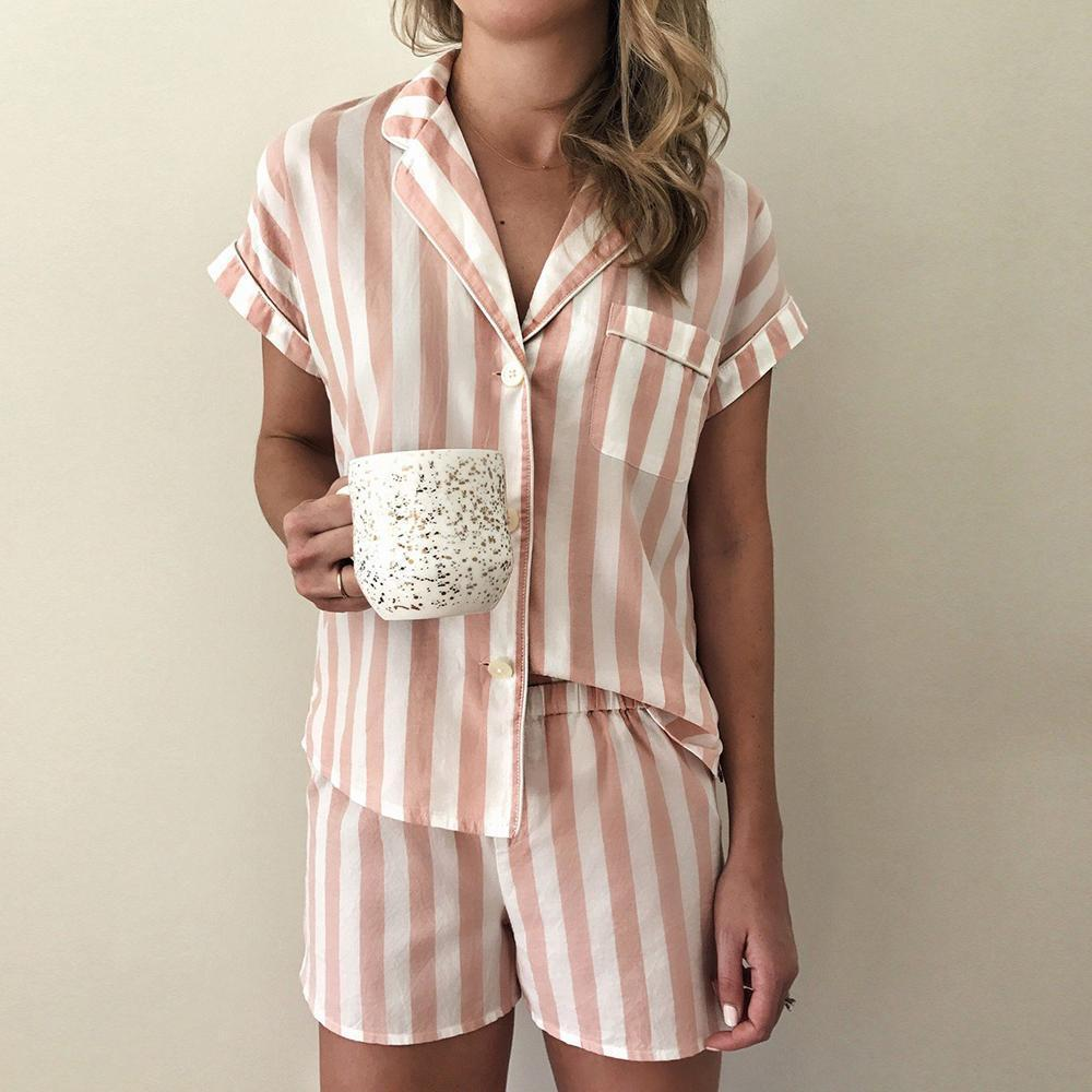 New Striped Lapel Top And Lace-Up Lounge Shorts Set-Pink-S-
