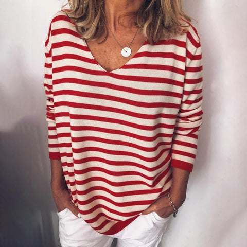 New Striped Long-Sleeved Thin Top-Red-S-