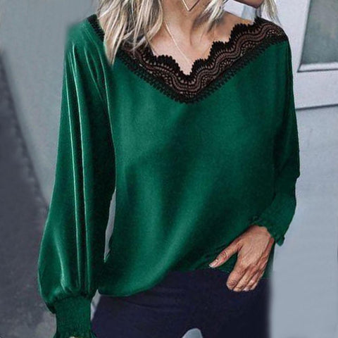 Noble Green Lace V-Neck Long Sleeve Blouse-Green-S-
