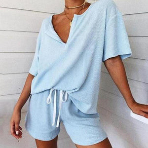 Notched Neck Short Sleeve Lounge Set-BLUE-S-