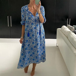 Now Showing Printed Midi Dress-Blue-S-