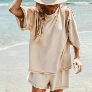 Nude Short Sleeve Shorts Lounge Set-Nude-S-