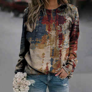 Off The Wall Printed Sweatshirt-Multicolor-S-