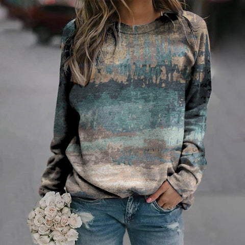 On Rotation Printed Sweatshirt-Blue-S-