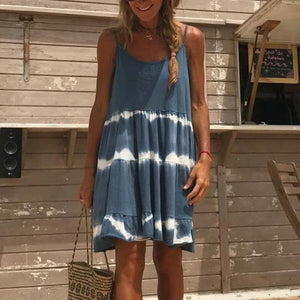 One Fine Day Blue Tie Dye Dress-NAVY-S-