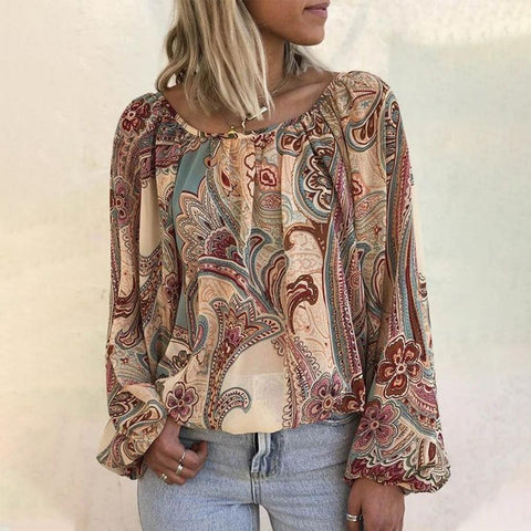 Only the Finest Printed Blouse-Rust Red-S-