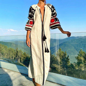 Out of Town Maxi Dress-White-S-