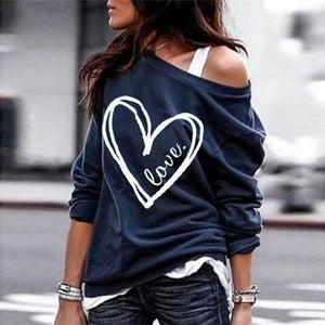 Oversized Love Heart Print Long Sleeve Top-Navy-S-