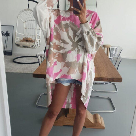 Oversized Round Neck Tie Dye Sweatshirt-Multicolor-S-