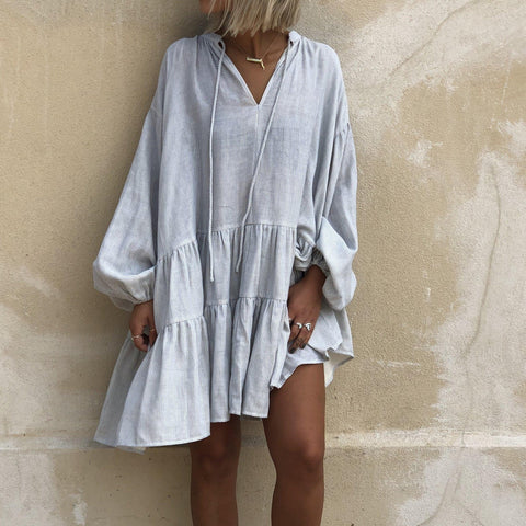 Oversized V-Neck Long Sleeve Splice Pleated Dress-Grey-S-