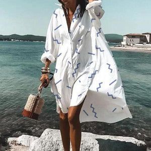 Paint a Picture White Printed Shirtdress-White-S-