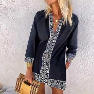 Party Favor Navy Tunic Dress-DARK BLUE-S-