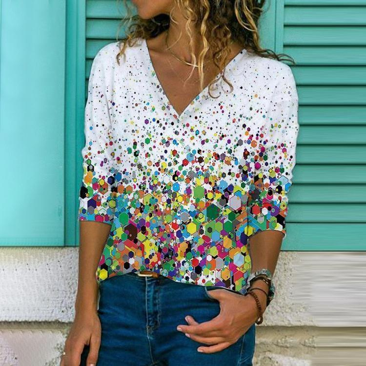 Party Time Printed Top-Multicolor-S-