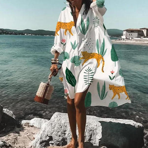Perfect Pace Printed Shirtdress-White-S-
