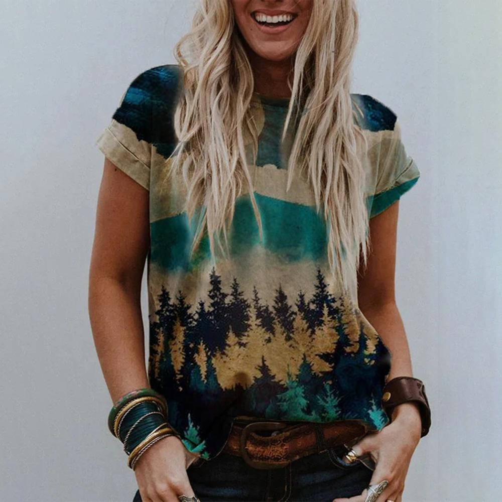 Personalized Landscape Print Short Sleeve Tee-Green-S-