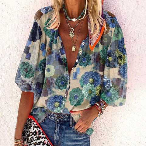 Picking Favorites Floral Print Blouse-Multicolor-S-