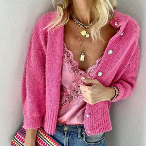 Pink Crush Cardigan-Rose Red-S-