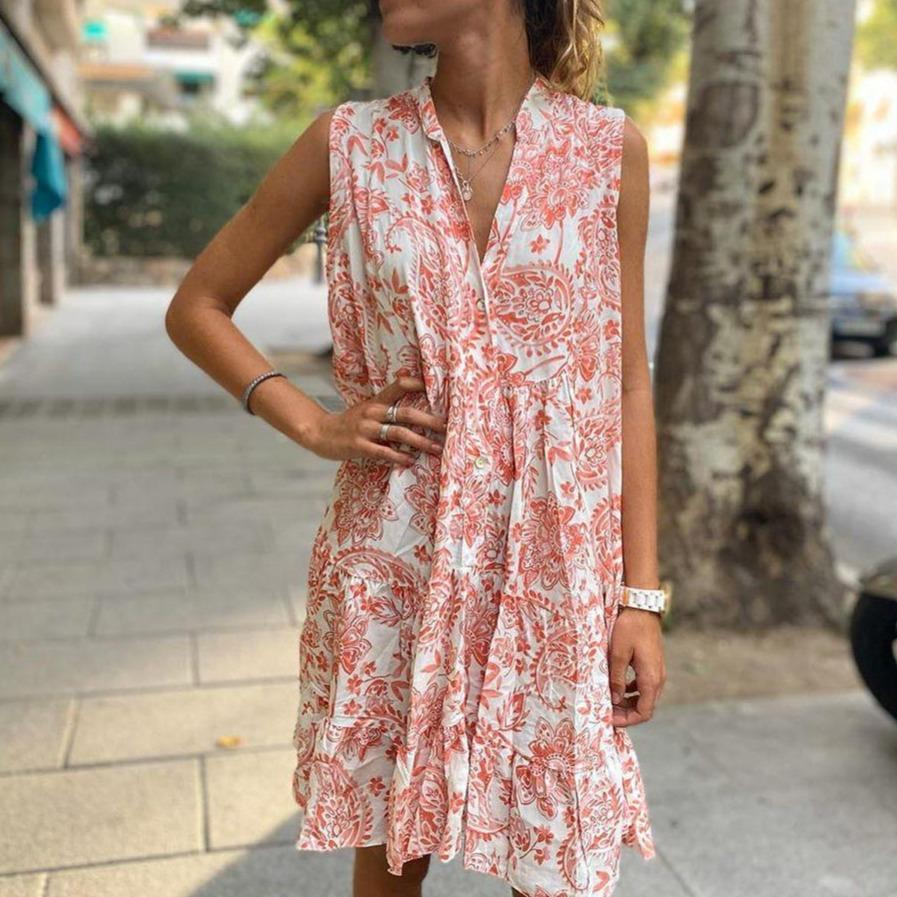 Pink Floral Loose Sleeveless Mini Dress-Pink-S-