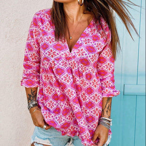 Pink Long Sleeve V-Neck Print Blouse-Rose Red-S-