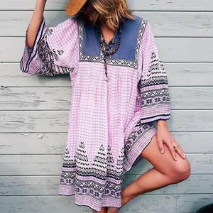 Pink Printed V-Neck Casual Loose Vacation Dress-Pink-S-