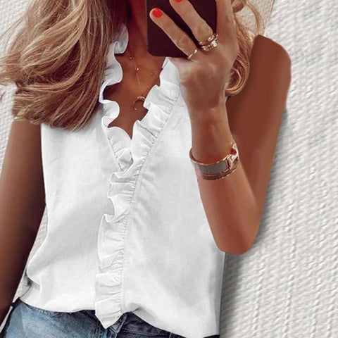 Plain Ruffle Sleeveless V-Neck Top-White-S-